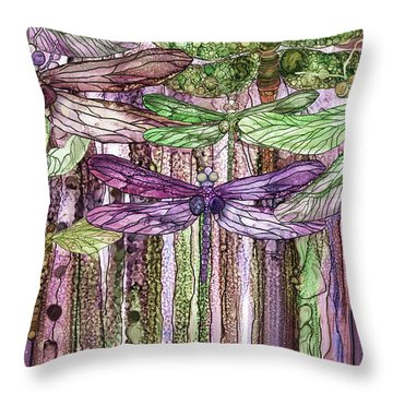 Dragonfly Bloomies 3 - Pink Throw Pillow by Carol Cavalaris