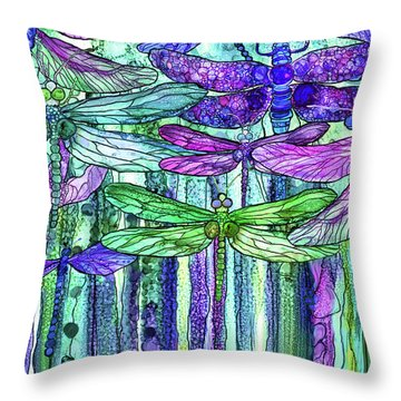 Dragonfly Bloomies 3 - Purple Throw Pillow by Carol Cavalaris