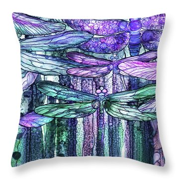 Throw Pillow featuring the mixed media Dragonfly Bloomies 4 - Lavender Teal by Carol Cavalaris