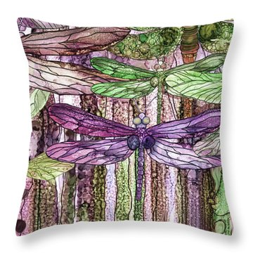 Dragonfly Bloomies 4 - Pink Throw Pillow by Carol Cavalaris