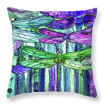Throw Pillow featuring the mixed media Dragonfly Bloomies 4 - Purple by Carol Cavalaris