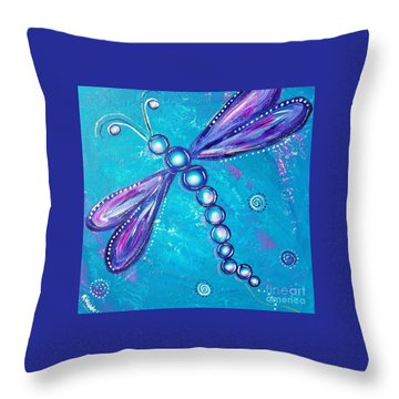 Dragonfly Bubble Art Throw Pillow by Rene Waddell