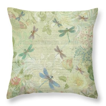 Dragonfly Dream Throw Pillow by Peggy Collins