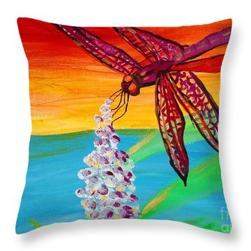 Dragonfly Ecstatic Throw Pillow