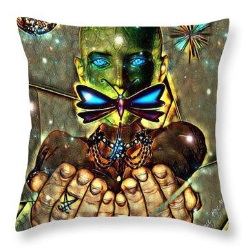 Dragonfly Empath Throw Pillow