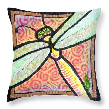 Throw Pillow featuring the painting Dragonfly Fantasy 3 by Jim Harris