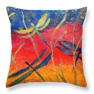 Dragonfly Fantasy Flight Throw Pillow