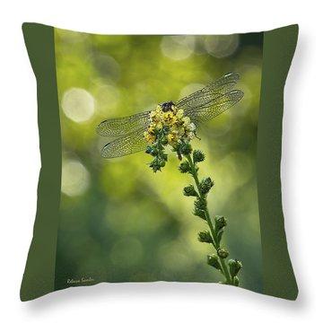 Dragonfly Flower Throw Pillow