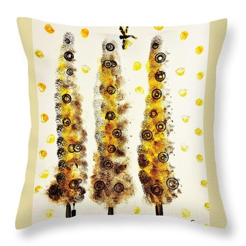 Dragonfly Flying Through The Yellow  Forest By Jasna Gopic Throw Pillow