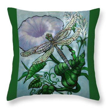 Throw Pillow featuring the painting Dragonfly In Sun by Jeanette Jarmon