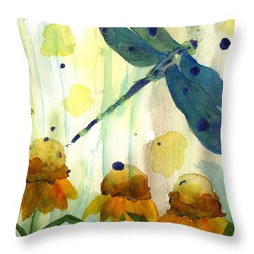 Dragonfly In The Wildflowers Throw Pillow