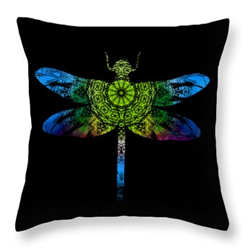 Dragonfly Kaleidoscope Throw Pillow