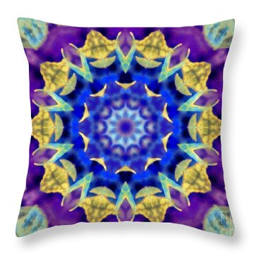 Dragonfly Kaleidoscope Throw Pillow by Shirley Moravec