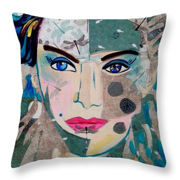 Dragonfly Lady Throw Pillow