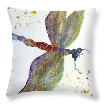 Dragonfly Throw Pillow by Lucia Grilletto
