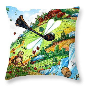 Dragonfly Throw Pillow by Luis Peres