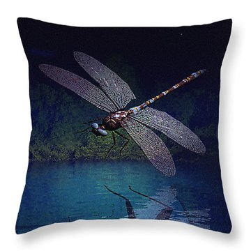 Dragonfly Night Reflections Throw Pillow