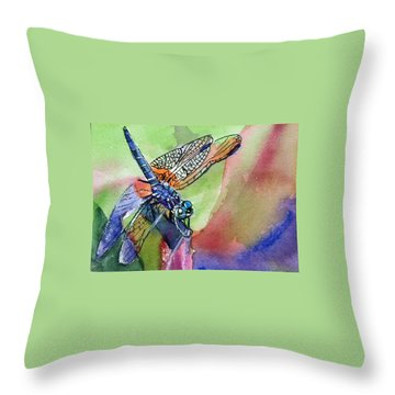 Dragonfly Of Many Colors Throw Pillow