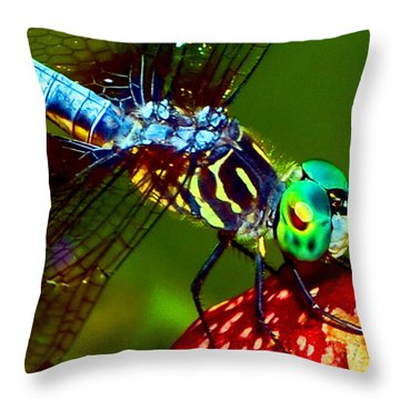 Throw Pillow featuring the photograph Dragonfly On A Pitcher Plant 007 by George Bostian