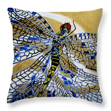 Dragonfly On Gold Scarf Throw Pillow by Susan Kubes