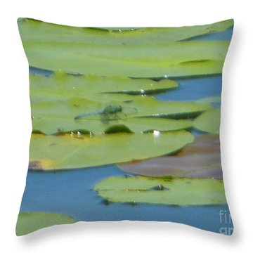 Dragonfly On Lily Pad Throw Pillow