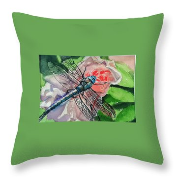 Dragonfly On Rose Throw Pillow