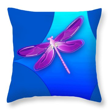 Dragonfly Pink On Blue Throw Pillow
