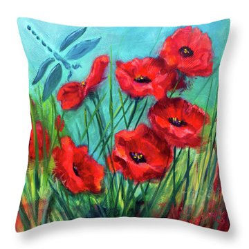 Dragonfly Poppies Throw Pillow