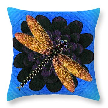 Throw Pillow featuring the digital art Dragonfly Snookum by Iowan Stone-Flowers