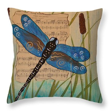 Throw Pillow featuring the painting Dragonfly Song by Cindy Micklos