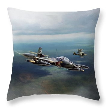 Throw Pillow featuring the digital art Dragonfly Special Operations by Peter Chilelli