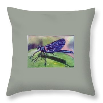 Dragonfly With Shadow Throw Pillow