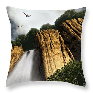 Dragons Den Canyon Throw Pillow by Richard Rizzo