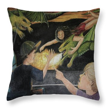 Dragons From The Train Throw Pillow