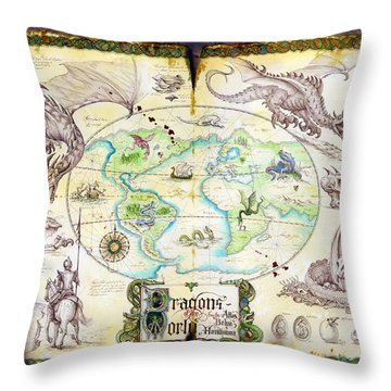 Dragons Of The World Throw Pillow by The Dragon Chronicles - Garry Wa
