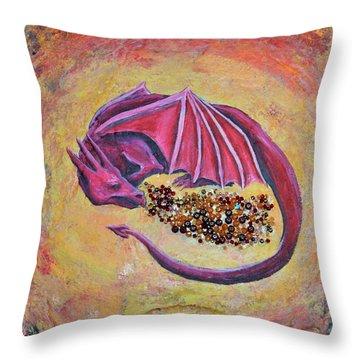 Dragon's Treasure Throw Pillow