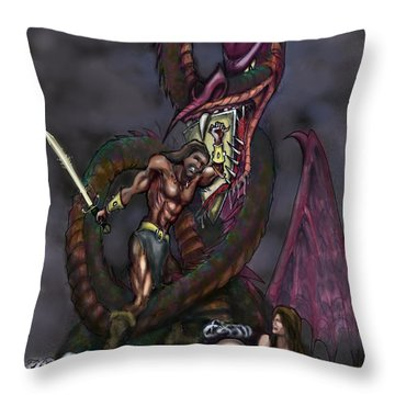 Dragonslayer Throw Pillow by Kevin Middleton