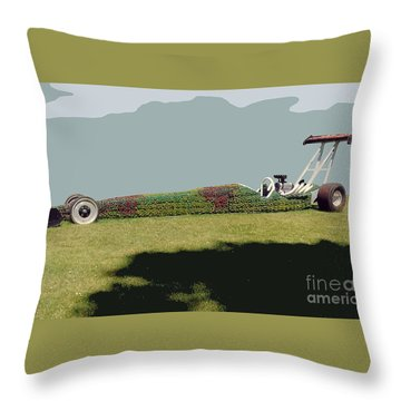 Throw Pillow featuring the photograph Dragster Flower Bed by Bill Thomson