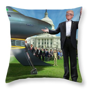 Throw Pillow featuring the digital art Draining The Swamp With Help From Above by Mike McGlothlen