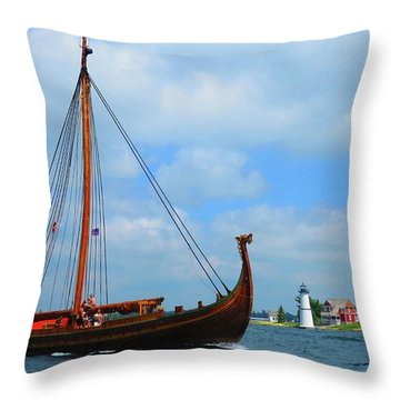The Draken Passing Rock Island Throw Pillow