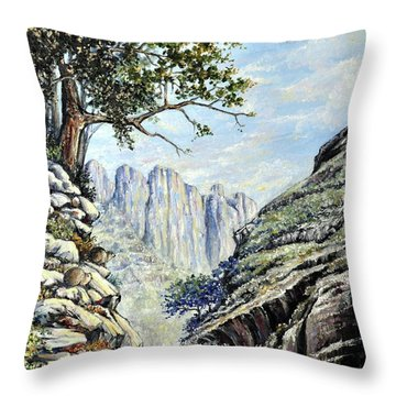 Throw Pillow featuring the painting Drakensberg by Heidi Kriel