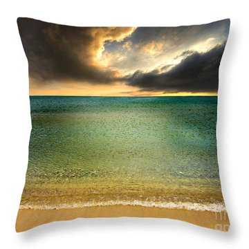 Drama At The Beach Throw Pillow by Meirion Matthias