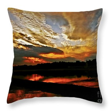 Drama In The Sky At The Sunset Hour Throw Pillow by Carol F Austin