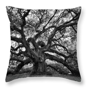 Dramatic Angel Oak In Black And White Throw Pillow