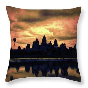 Dramatic Angkor Wat  Throw Pillow