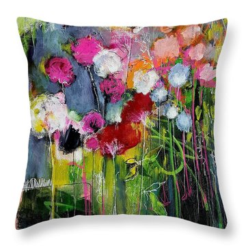 Dramatic Blooms Throw Pillow by Nicole Slater