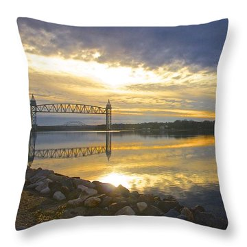Dramatic Cape Cod Canal Sunrise Throw Pillow