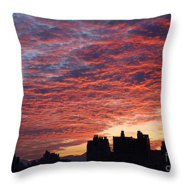 Throw Pillow featuring the photograph Dramatic City Sunrise by Yali Shi