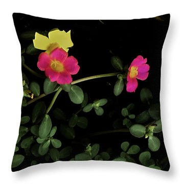 Dramatic Colorful Flowers Throw Pillow