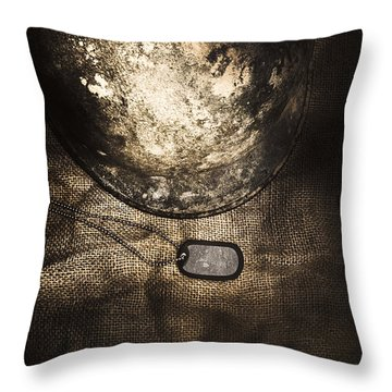 Dramatic Dog Tags And Military Helmet Still Life Throw Pillow